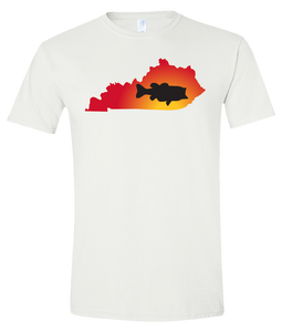 Short Sleeve T-Shirt Kentucky White Large Mouth Bass Vibrant Design High Quality Tight Knit Ring Spun Low Maintenance Cotton Printed With The Newest Available Color Transfer Technology