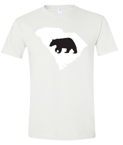 Short Sleeve T-Shirt South Carolina White Black Bear Vibrant Design High Quality Tight Knit Ring Spun Low Maintenance Cotton Printed With The Newest Available Color Transfer Technology