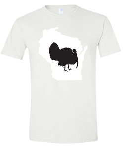 Short Sleeve T-Shirt Wisconsin White Turkey Vibrant Design High Quality Tight Knit Ring Spun Low Maintenance Cotton Printed With The Newest Available Color Transfer Technology