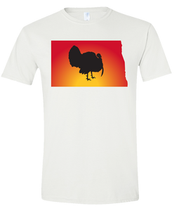 Short Sleeve T-Shirt North Dakota White Turkey Vibrant Design High Quality Tight Knit Ring Spun Low Maintenance Cotton Printed With The Newest Available Color Transfer Technology