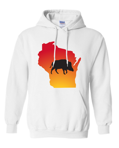 Pullover Hooded Sweatshirt Wisconsin White Wild Hog Vibrant Design High Quality Tight Knit Ring Spun Low Maintenance Cotton Printed With The Newest Available Color Transfer Technology