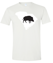Load image into Gallery viewer, Short Sleeve T-Shirt South Carolina White Wild Hog Vibrant Design High Quality Tight Knit Ring Spun Low Maintenance Cotton Printed With The Newest Available Color Transfer Technology