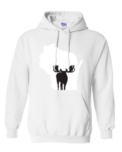 Pullover Hooded Sweatshirt Wisconsin White Moose Vibrant Design High Quality Tight Knit Ring Spun Low Maintenance Cotton Printed With The Newest Available Color Transfer Technology