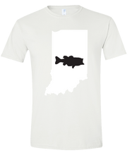 Load image into Gallery viewer, Short Sleeve T-Shirt Indiana White Large Mouth Bass Vibrant Design High Quality Tight Knit Ring Spun Low Maintenance Cotton Printed With The Newest Available Color Transfer Technology