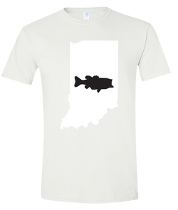 Short Sleeve T-Shirt Indiana White Large Mouth Bass Vibrant Design High Quality Tight Knit Ring Spun Low Maintenance Cotton Printed With The Newest Available Color Transfer Technology