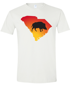 Short Sleeve T-Shirt South Carolina White Wild Hog Vibrant Design High Quality Tight Knit Ring Spun Low Maintenance Cotton Printed With The Newest Available Color Transfer Technology