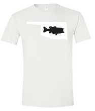Load image into Gallery viewer, Short Sleeve T-Shirt Oklahoma White Large Mouth Bass Vibrant Design High Quality Tight Knit Ring Spun Low Maintenance Cotton Printed With The Newest Available Color Transfer Technology