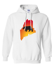Load image into Gallery viewer, Pullover Hooded Sweatshirt Maine White Black Bear Vibrant Design High Quality Tight Knit Ring Spun Low Maintenance Cotton Printed With The Newest Available Color Transfer Technology