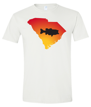 Load image into Gallery viewer, Short Sleeve T-Shirt South Carolina White Large Mouth Bass Vibrant Design High Quality Tight Knit Ring Spun Low Maintenance Cotton Printed With The Newest Available Color Transfer Technology