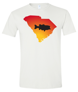 Short Sleeve T-Shirt South Carolina White Large Mouth Bass Vibrant Design High Quality Tight Knit Ring Spun Low Maintenance Cotton Printed With The Newest Available Color Transfer Technology