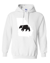 Load image into Gallery viewer, Pullover Hooded Sweatshirt Georgia White Black Bear Vibrant Design High Quality Tight Knit Ring Spun Low Maintenance Cotton Printed With The Newest Available Color Transfer Technology