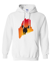 Load image into Gallery viewer, Pullover Hooded Sweatshirt Maine White Moose Vibrant Design High Quality Tight Knit Ring Spun Low Maintenance Cotton Printed With The Newest Available Color Transfer Technology
