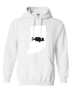 Pullover Hooded Sweatshirt Indiana White Large Mouth Bass Vibrant Design High Quality Tight Knit Ring Spun Low Maintenance Cotton Printed With The Newest Available Color Transfer Technology
