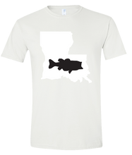 Load image into Gallery viewer, Short Sleeve T-Shirt Louisiana White Large Mouth Bass Vibrant Design High Quality Tight Knit Ring Spun Low Maintenance Cotton Printed With The Newest Available Color Transfer Technology