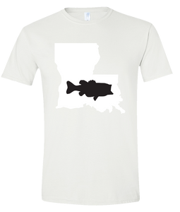 Short Sleeve T-Shirt Louisiana White Large Mouth Bass Vibrant Design High Quality Tight Knit Ring Spun Low Maintenance Cotton Printed With The Newest Available Color Transfer Technology