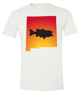 Short Sleeve T-Shirt New Mexico White Large Mouth Bass Vibrant Design High Quality Tight Knit Ring Spun Low Maintenance Cotton Printed With The Newest Available Color Transfer Technology