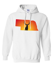 Load image into Gallery viewer, Pullover Hooded Sweatshirt Nebraska White Mule Deer Vibrant Design High Quality Tight Knit Ring Spun Low Maintenance Cotton Printed With The Newest Available Color Transfer Technology