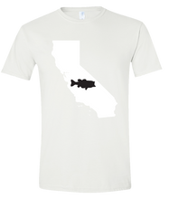 Load image into Gallery viewer, Short Sleeve T-Shirt California White Large Mouth Bass Vibrant Design High Quality Tight Knit Ring Spun Low Maintenance Cotton Printed With The Newest Available Color Transfer Technology