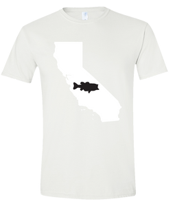 Short Sleeve T-Shirt California White Large Mouth Bass Vibrant Design High Quality Tight Knit Ring Spun Low Maintenance Cotton Printed With The Newest Available Color Transfer Technology