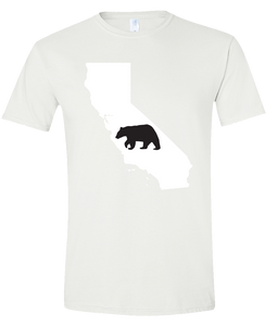 Short Sleeve T-Shirt California White Black Bear Vibrant Design High Quality Tight Knit Ring Spun Low Maintenance Cotton Printed With The Newest Available Color Transfer Technology
