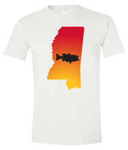 Load image into Gallery viewer, Short Sleeve T-Shirt Mississippi White Large Mouth Bass Vibrant Design High Quality Tight Knit Ring Spun Low Maintenance Cotton Printed With The Newest Available Color Transfer Technology