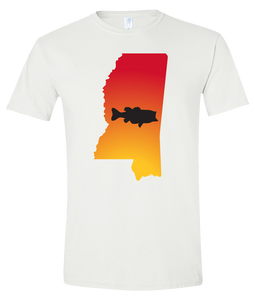 Short Sleeve T-Shirt Mississippi White Large Mouth Bass Vibrant Design High Quality Tight Knit Ring Spun Low Maintenance Cotton Printed With The Newest Available Color Transfer Technology