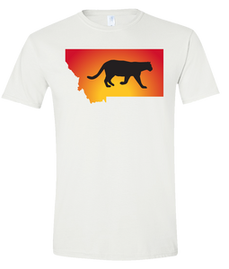 Short Sleeve T-Shirt Montana White Mountain Lion Vibrant Design High Quality Tight Knit Ring Spun Low Maintenance Cotton Printed With The Newest Available Color Transfer Technology