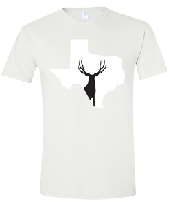 Short Sleeve T-Shirt Texas White Mule Deer Vibrant Design High Quality Tight Knit Ring Spun Low Maintenance Cotton Printed With The Newest Available Color Transfer Technology