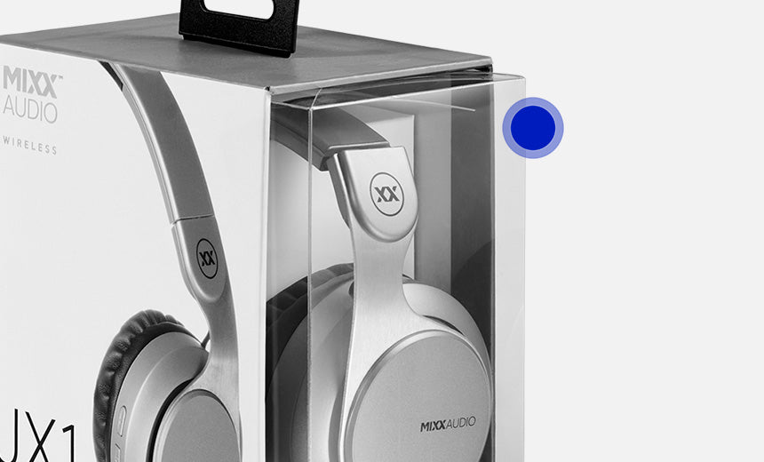 MIXX headphone packaging is made from recyclable plastic