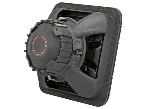 "600W 12"" Square Subwoofer Driver, 2Ω or 4Ω Dual Voice Coil : Kicker 45L7R12 rear side view."