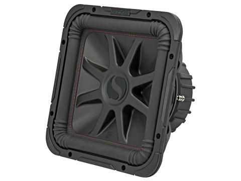 "600W 12"" Square Subwoofer Driver, 2Ω or 4Ω Dual Voice Coil : Kicker 45L7R12 front side view."