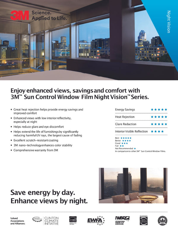 3M Night Vision residential window film brochure, page 1.