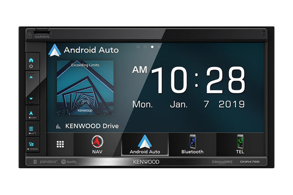 "Kenwood DNR476S - DDIN Size 6.8"" Mechless BT Navigation Head Unit"