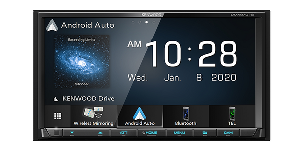 "DMX9707S : Kenwood 6.95"" DDIN Size Head Unit - Mechless BT WiFi, with Android Auto"