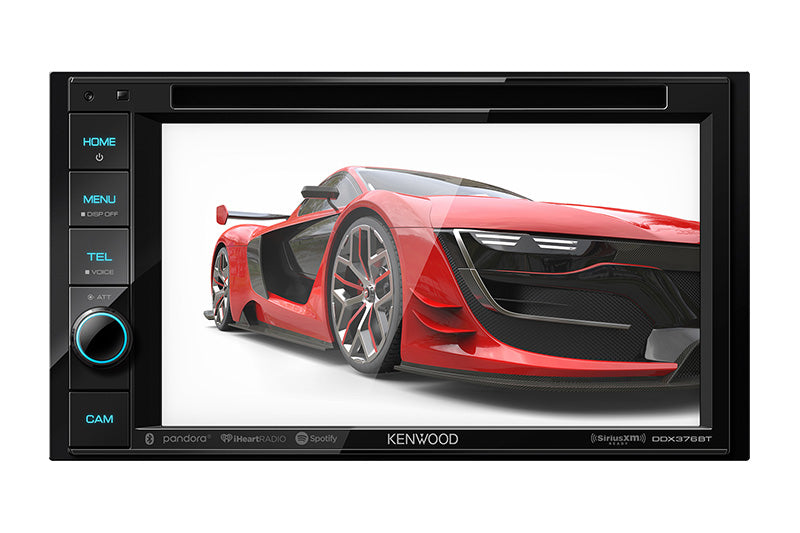 "Kenwood DDX376BT - DDIN Size 6.2"" CD/DVD BT Head Unit, customizable wallpaper."