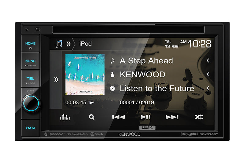 "Kenwood DDX376BT - DDIN Size 6.2"" CD/DVD BT Head Unit, media screen."