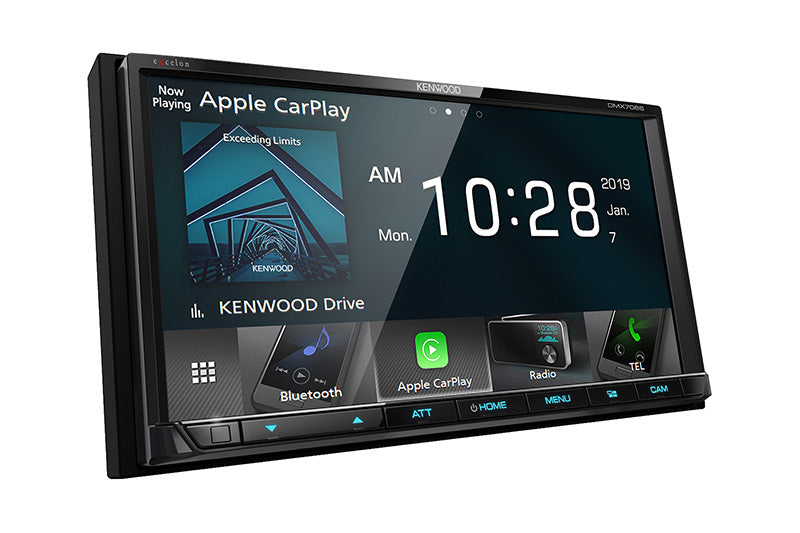 "Kenwood Excelon DMX706S - 6.95"" DDIN Mechless BT Receiver, front side view."