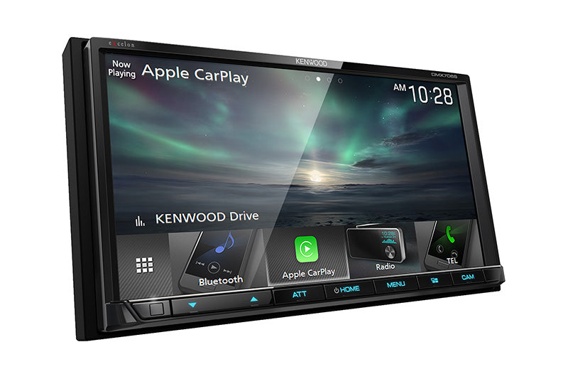 "Kenwood Excelon DMX706S - 6.95"" DDIN Mechless BT Receiver, front side view with customizable screen."