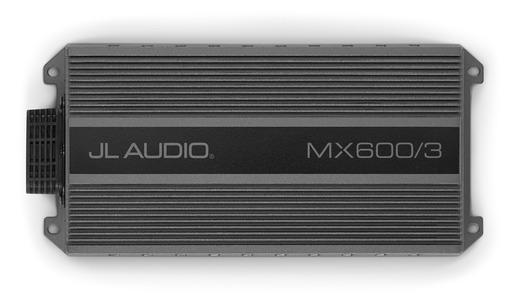 JL Audio MX600/3 - 3ch 600W/400W @ 2Ω/4Ω Marine Amplifier, top view.
