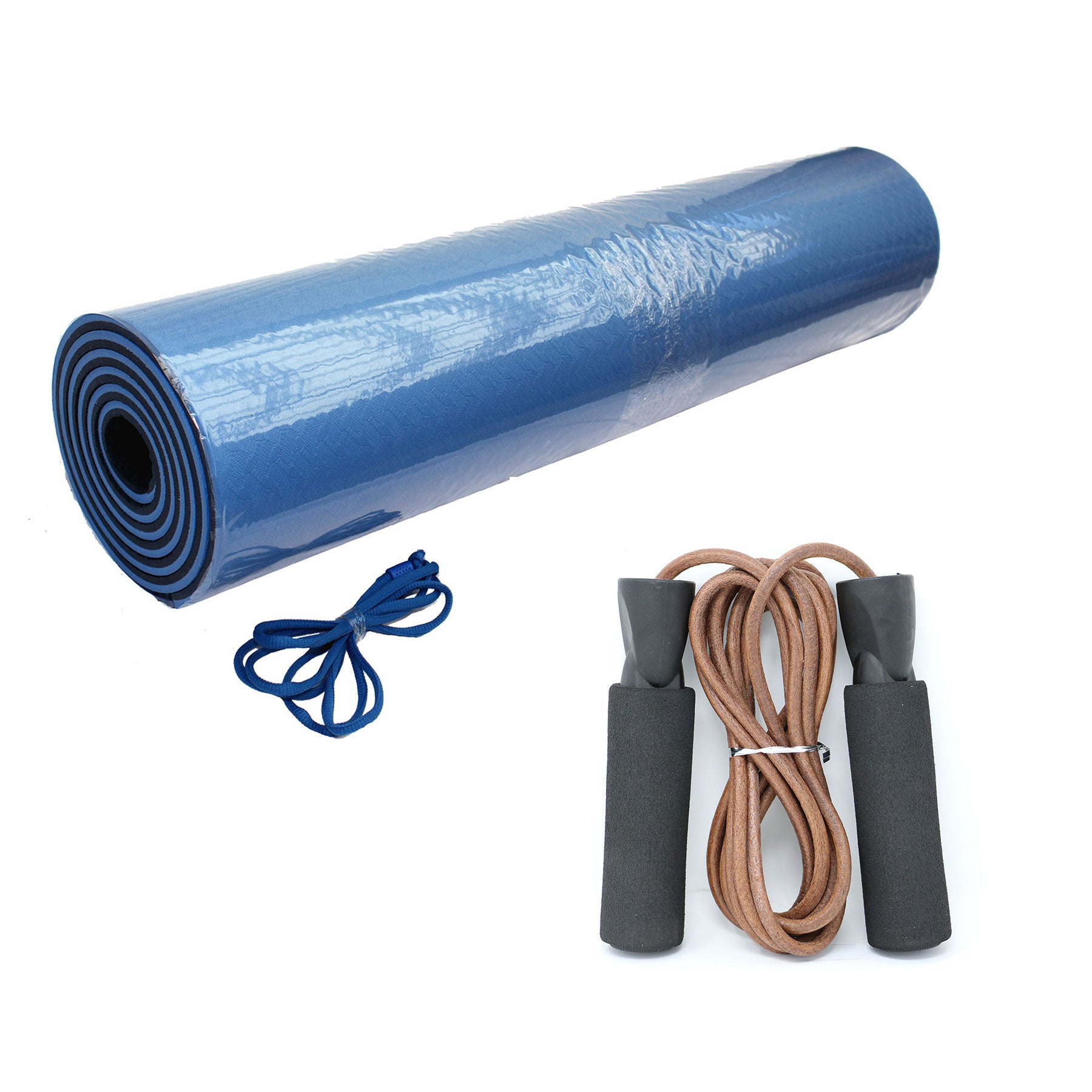 Leather Jump Rope & Yoga Mat