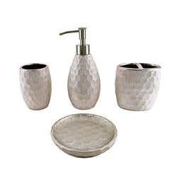 Bathroom Accessories - Fleur Silver Collections (Save $8.12) - Qlevo - Clever Living