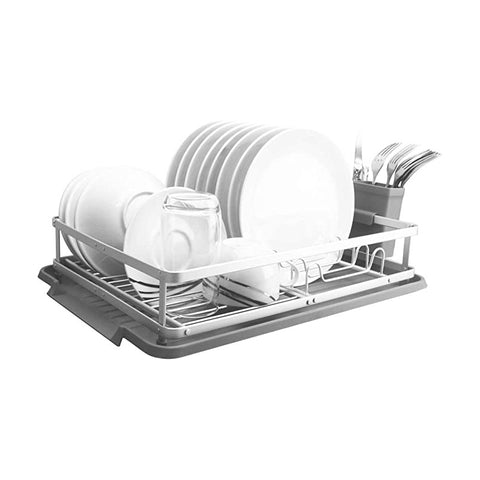 Evelyne GMT-10333 (Compact) Aluminum Dish Drying Rack With Utensil Holder - Qlevo - Clever Living