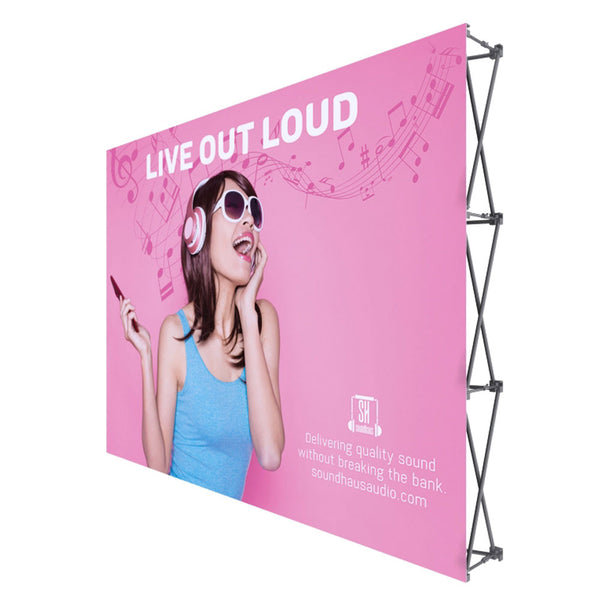 "ONE CHOICE - 10 Ft. Fabric Pop Up Display - 89""H Straight Graphic Package - Qlevo - Clever Living"