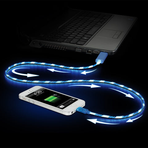 Ambient Light MFI Certified Lightning to USB Cable (Blue) for Apple iPhone 5, 6, 7, 8,11 - Qlevo - Clever Living