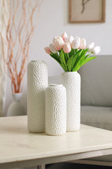 Hosley Set of 3 White Ceramic Honeycomb Vase Tall 12 Inch Medium 10 Inch Short 8 Inch High Each - Qlevo - Clever Living