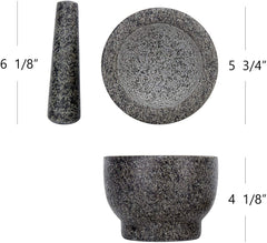 Polished Heavy Granite Mortar And Pestle Set Guacamole Bowl - Qlevo - Clever Living
