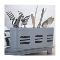 Evelyne GMT-10331 (Large) Aluminum Dish Drying Rack With Utensil Holder - Qlevo - Clever Living