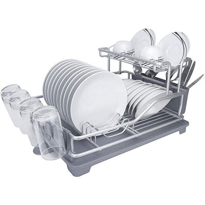 Evelyne GMT-10332 (Extra Large) Aluminum Dish Drying Rack With Utensil Holder - Qlevo - Clever Living
