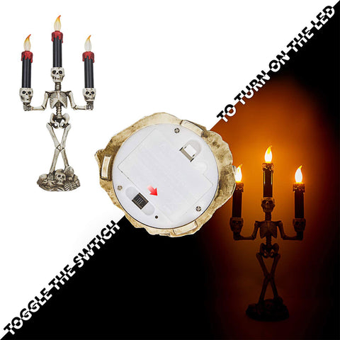 Halloween Decoration - Halloween Candles Flameless and Skeleton Candle Holder