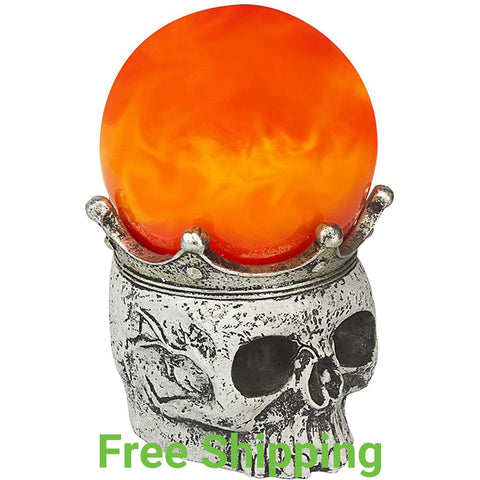 Halloween Decoration - Swirling Smoke Mystical Orb on Skull Stand